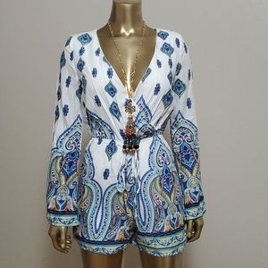 CALS Paisley Bell Sleeves Drawstring Romper Size S